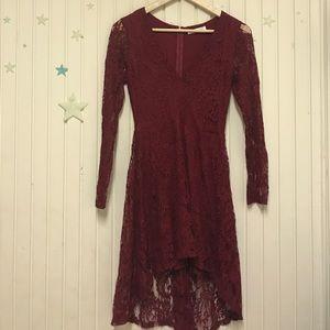 Honey Punch Dresses - Honeypunch lace burgundy dress